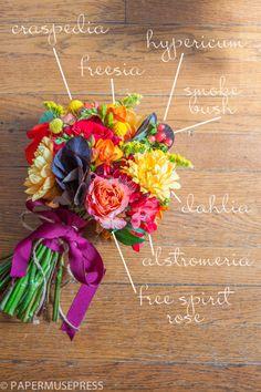 DIY fall wedding bouquet, gorgeous fall colors in this, smoke bush, hypericum, craspedia, freesia, dahlia, alstromerica