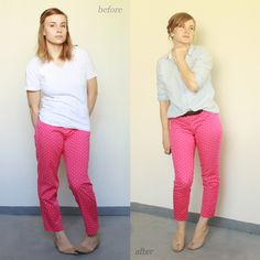 This awesome DIY fashion blog shows before and afters of thrift store clothes. If you can sew a straight line, you can do these.