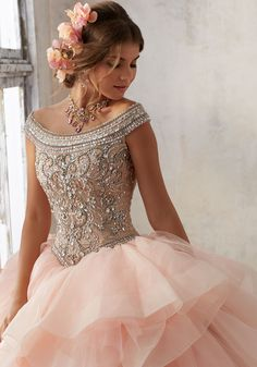 Jeweled Beading on a Flounced Organza Ballgown | Vizcaya Style 89138 | Quinceanera Dresses by Morilee designed by Madeline Gardner. Beautiful Quinceañera Ballgown featuring a Fully Beaded Bodice with Off-the-Shoulder Neckline