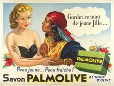 """Palmolive Soap / Sabo France - c. 1935 /  63 x 47 in (160 x 119 cm) """"Keep this youthful feminine color...  Young skin...fresh skin!  Palmolive Soap with olive oil"""""""
