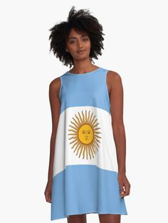 'Argentina Flag' A-Line Dress by ArgosDesigns Argentine, I Dress, Shirt Dress, Chiffon Tops, Classic T Shirts, Athletic Tank Tops, Blue And White, Clothes, Flag