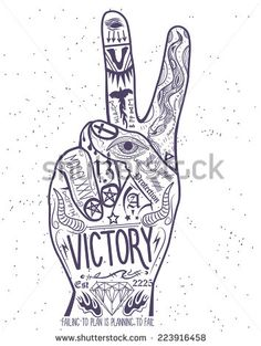 Find Vintage Victory Hand Symbol Printing Elements stock images in HD and millions of other royalty-free stock photos, illustrations and vectors in the Shutterstock collection. Victory Logo, Victory Tattoo, Finger Tattoos, Hand Tattoos, Hand Symbols, Symbol Tattoos, Hand Logo, Tattoo Inspiration, Victorious
