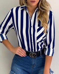 Striped Pocket Button Up Casual Shirt Shop- Women's Best Online Shopping - Offering Huge Discounts on Dresses, Lingerie , Jumpsuits , Swimwear, Tops and More. Ropa Semi Formal, Ruffles, Blouse Dress, Pattern Fashion, Shirt Blouses, Blouses For Women, Casual Shirts, Fall Outfits, Chic