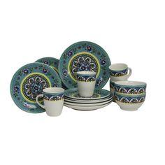 Elama Santa Fe Springs 16pc Stoneware Dinnerware Set