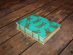 Travel Journal, Notebook journal,Writing Journal, Pregnancy Journal, Art Journal, Coptic stitch, Coptic Binding, Aqua and Gold, Dragonflies - pinned by pin4etsy.com