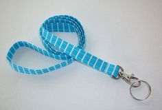Lanyard / Key Leash ID Badge Holder  NEW THINNER design  by Laa766, $7.75  Great for teachers, coaches, nurses, and students.  preppy / fabric /cute / patterns / key chain / keychain / girly / badge