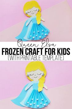 Queen Elsa Frozen Craft for Kids - This cute paper craft is such a fun activity to go along with the new Frozen 2 movie. Includes a free printable template, which makes this Queen Elsa craft super easy to make. Disney Crafts For Kids, Paper Crafts For Kids, Crafts For Girls, Toddler Crafts, Fun Crafts, Paper Dolls Printable, Printable Crafts, Free Printable, Frozen Activities