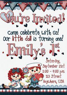 Raggedy Ann Birthday Invitation by DecidedlyDigital on Etsy, $15.00