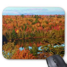Mt. Katahdin Surrounding Autumn Scenery III Standard Mouse Pads by KJacksonPhotography --  Taken 10.12.2014 Salmon Stream Lake surrounded by the colorful canopy of autumn leaves of the forest just below Mt. Katahdin - brilliant dazzling reds,oranges and golds. The lake beautifully reflects the kaleidoscope of colors of this fall's vivid hues. From the I95 scenic turnout, mile marker 252 in Maine.PC:244.285