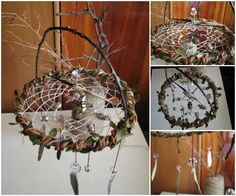 Divination dreamcatcher, based on Lenormand Tarot symbols. Porcupine needle can be tossed to make divination. There are 10 positive and 5 negative symbols