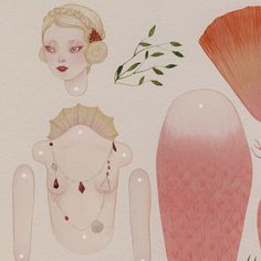 Fig. 1 Lost Pearl  articulated paper doll print by woolandwater