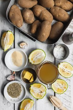 A recipe for homemade lemon Greek style roasted potatoes. This recipe will help you rmake estaurant qualtiy of traditional roasted Greek potatoes Greek Roasted Potatoes, Greek Lemon Potatoes, Veggie Food, Veggie Recipes, Cooking Recipes, Greek Lamb Recipes, Food Dishes, Side Dishes, Greek Cooking