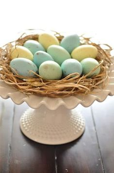 Painted wooden eggs mean you can break this centerpiece out every Easter, no extra work needed!