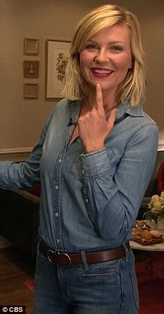Glamorous gal: Kirsten still managed to look glamorous in the double denim ensemble