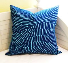Trina Turk for Schumacher Sonriza in Marine/Pool (on Both Sides) Outdoor Indoor Pillow Cover - Square, Euro and Lumbar Sizes 20x20 Pillow Covers, Pillow Cover Design, Pillow Inserts, Free Fabric Swatches, Beach Bungalows, Home Decor Fabric, Schumacher, Designer Pillow, Trina Turk