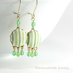 Dangle Earrings - Fresh Green - Green and White Stripes Fabric Covered Buttons Earrings with Czech Glass Beads By PatchworkMillJewelry