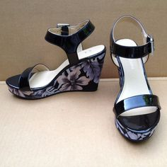 CL by Chinese Laundry Women's Infinity Patent Wedge Sandal, Black 7.5 NWOB #CLbyLaundry #PlatformsWedges