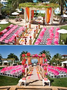 Pink parasols line the tropical hawaiian wedding aisle - love the palm trees as the backdrop!in wedding arch, indian wedding mandap, natural mandap Wedding Ceremony Ideas, Rustic Wedding Backdrops, Wedding Aisle Decorations, Wedding Mandap, Desi Wedding, Wedding Themes, Haldi Ceremony, Beach Ceremony, Wedding Stage