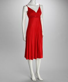 Look what I found on #zulily! Red Beaded Surplice Dress by Papillon Imports #zulilyfinds