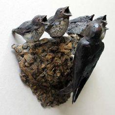 Kunst - brons beeld - Roel Gort - Nest zwaluwen