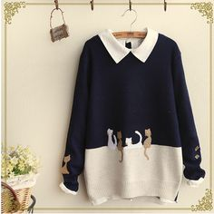Japanese cute cat knitted sweaters