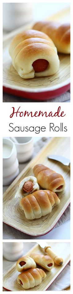Sausage Rolls - easy sausage roll recipe that calls for 3 basic ingredients: sausage, bread flour and butter. Make this delicious pastry at home today. Brunch Recipes, Appetizer Recipes, Breakfast Recipes, Sausage Recipes, Cooking Recipes, Homemade Sausage Rolls, Homemade Rolls, Kolache Recipe, Snacks