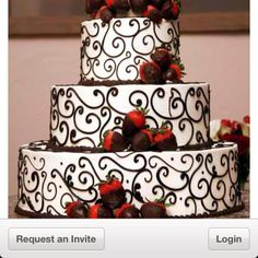 Love this wedding cake. My colors are red, black, and white.