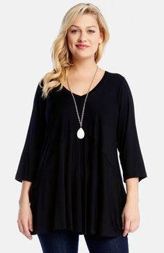 Karen Kane Three-Quarter Sleeve V-Neck Top (Plus Size) available at #Nordstrom
