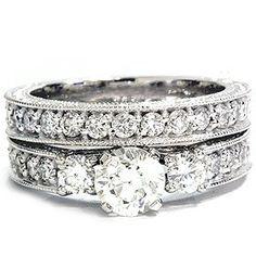 SALE!! 1.50CT Vintage Diamond Engagement Wedding Ring Set 14K REVIEW