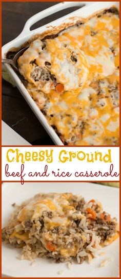 Cheesy Ground Beef and Rice Casserole via /ohsweetbasil/