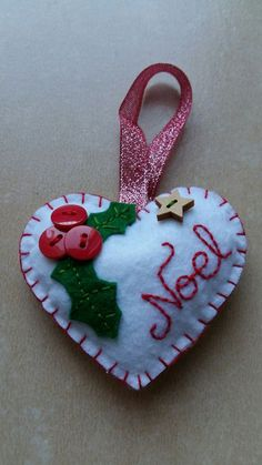 Embroidery christmas decorations felt birds ideas for can find Felt christmas ornaments and more on our website. Handmade Christmas Decorations, Christmas Ornament Crafts, Felt Decorations, Christmas Sewing, Christmas Embroidery, Holiday Crafts, Bird Embroidery, Embroidery Ideas, Christmas Hearts