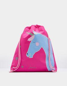 e1bf99548fa Active Glitter Unicorn Drawstring Bag , Size One Size | Joules UK