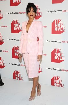 ... Casual print Chic style  Altuzarra SS 2015 checkered (white + pink)  print skirt-suit at MAC Cosmetics and MAC AIDS Fund world premiere. cf3b0c9df