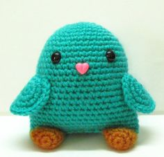 Amigurumi Bird Plush Toy in Sea Green by TheWeaverBirdie on Etsy