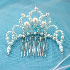 マーメイドのミニティアラ Wedding Headband, Bridal Crown, Baby Jewelry, Beaded Jewelry, Wedding Hair Accessories, Wedding Jewelry, Diy Tiara, Crystal Bouquet, Princess Tiara