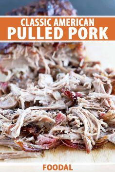 Piled on a plate or served on a sandwich, classic American pulled pork is so versatile, and making it is totally foolproof – even a barbecue beginner can master this simple recipe. Cooked low and slow, the results are smoky and tender, and the tangy sauce pops with flavor. Read more. #pulledpork #barbecue #foodal Pulled Pork Sauce, Pulled Pork Recipes, Deli Sandwiches, Sandwich Recipes, Barbecue Sides, Great Recipes, Favorite Recipes, Bbq Chicken, Grilling Recipes