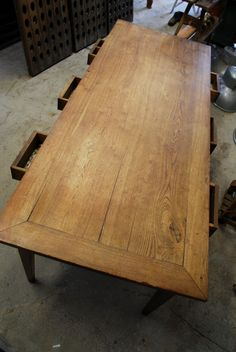 1900's English Oak Table, from a French Monastery Vintage Industries