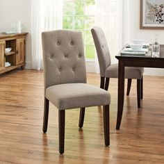 From Walmart Better Homes and Gardens Parsons Tufted Dining Chair, Beige