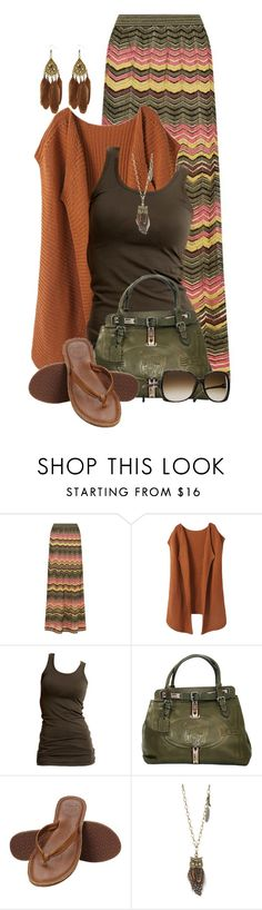 """Chevron Maxi & Flip Flops"" by colierollers ❤ liked on Polyvore featuring M Missoni, VILA, Fendi, Reef and Aéropostale"