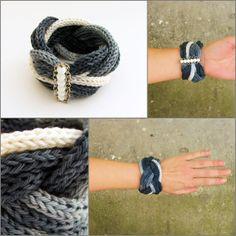 szürke és fehér színátmenetes fonalból kötött, fonott karkötő fehér gyöngyökkel / gray white knitted braide bracelet with white beads