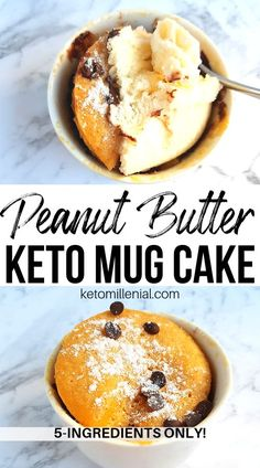 Keto Peanut Butter Chocolate Chip Mug Cake - No Flour Low carb peanut butter cake in a mug recipe. This flourless peanut butter mug cake is so delicious and full of flavour! Who would have know it's also keto-friendly, and sugar free. Cake Mug, Keto Mug Cake, Peanut Butter Mug Cakes, Low Carb Peanut Butter, Mug Recipes, Snack Recipes, Dessert Recipes, Keto Recipes, Dinner Recipes