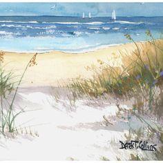 Ocean painting sea oats original Watercolor by derekcollins