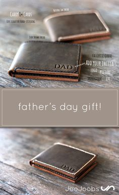 Personalized Men's Leather Wallet. This engraved leather wallet is the perfect father's day gift. This custom wallet will be displayed with pride for years to come. It's a great gift for groomsmen, boyfriends, husbands and fathers alike. Please note, the 'DAD' is just a sample. You get to choose the initials that go on the wallet. Or a monogram, or a logo, or a small quote....you get the picture.
