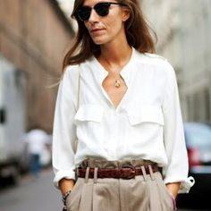Silky blouse, rolled cuffs-as seen on habitually chic blog