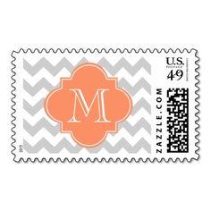 Gray and Orange Chevron With Custom Monogram Stamp