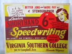 Sign Virginia Southern College Learn Shorthand