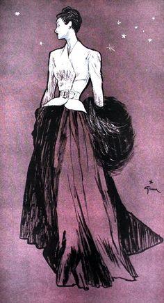 Femina (Noël) January 1947   Maggy Rouff, illustration by Rene Gruau