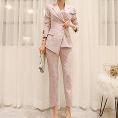 OL Plaid Irregular Women Pant Suits Single Breasted Pencil Pant Suits Blazer Jacket Slim Pant Work Wear 2 Pieces Set Autumn New - plaid pink - & Sets, Pant Suits # Suit Jackets For Women, Blazers For Women, Pants For Women, Clothes For Women, Women Blazer, Formal Business Attire, Pantsuits For Women, Trouser Suits, Formal Pant Suits