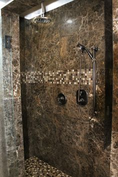 Luxury Stone Showers jinshan coffee and dark emperador marble shower #thetileshop | for