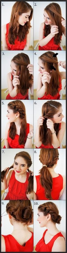 The Twisty Updo. love this hairstyle, also works on shorter hair (as long as you don't have really short layers) <3